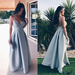 Wholesale Girls Bridesmaid Dresses Cheap - A Line Spaghetti Straps Sexy Bridesmaid Dresses Long Low Back Cheap Prom Party Gowns Cheap Simple Yong Girls Wedding Guest Dress