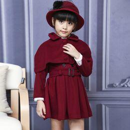 Wholesale Two Piece Coat Dress Girls - Children Long Coat Two-piece Kids Coat Dress fashion Winter Cloak Princess Dress Baby Girl Shawl suit