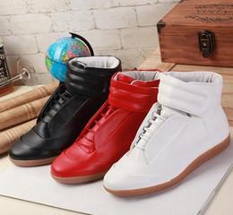 Wholesale Silver Hip Hop Shoes - Margiela Promotion!! Fashion Sneakers Genuine Leather Hi-Stree Hip Hop Casual Men Sports Shoes 39-46