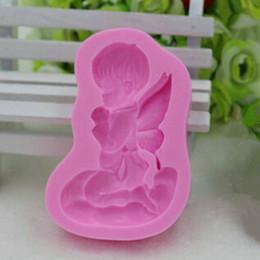 2019 silicone del sapone del bambino Le vendite calde 3D Angel Silicone stampo sapone candele muffa del bambino torta fondente che decora gli attrezzi sconti silicone del sapone del bambino