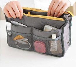 Wholesale Handbag Organiser Purse - 10colors Portable Double Zipper Bag Insert liner purse Organiser Handbag Women Travel Purse Pouch Bag in Bag Organizer Cosmetics Storage
