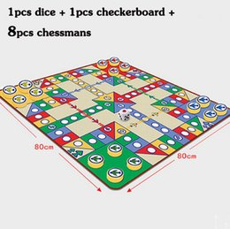 Wholesale Puzzle Pads Babies - Wholesale-2015 hot 80*80CM Chess game play carpet set for baby Best gift of flying chess Puzzle toy multifunctional pad flight chess pad