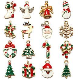 Wholesale Diy Santa Accessories - Wholesale Christmas Tree Supplies Small Lovely Santa Claus Snowflake Deer Hanging Jewelry Bracelet Necklace DIY Accessories