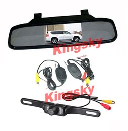 "Wholesale Car Reverse Kit - Wireless Car Rear View Kit 4.3"" Car LCD Mirror Monitor +Waterproof 7IR LED Night vision Reversing Parking Backup Camera"