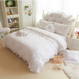 Wholesale Fleece Bedding Sets - Wholesale- White beige pink purple red color princess duvet cover set Flannel Fleece fabric winter Autum bedding-set 3 4pcs free shipping