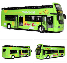 Wholesale Model Bus Toys - Alloy Bus Model, Sightseeing Bus, Tourist Coach Toy, with Light, Music, Pull back Car, for Kid' Gifts, Collecting, Decoration, 3 Colors