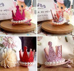 coroa pérola princesa cabelo Desconto Fashion Hot Meninas Meninas Xmas Dacing Partido Clips Cabelo Crown Pearl Princesa Barrette Ribbon estilo de cabelo