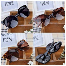 Wholesale C2 Sunglasses - Gafas de sol Vintage Retro Cat Eye Round Sunglasses women Fashion Stylish Semi-Rim Eyewear oculos de sol feminino zx*MPJ093#C2