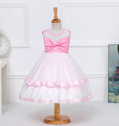 Wholesale Korean Babies Pictures Girls - Korean Large Bow Children Dress Baby Princess Dress Birthday Dresses for Girls