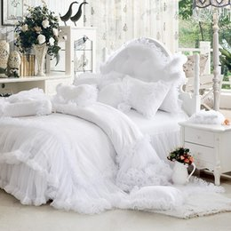 Wholesale Twin Size Girls Bedspreads - Wholesale-Luxury white falbala ruffle lace bedding set, twin queen king size bedding for girl, princess duvet cover set bedspread bedskirt