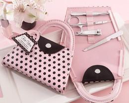 Wholesale Wholesale Bridal Trim - nail art kit, hot Pink Polka Dot Purse Manicure Set, nail cutter, nail trimmer, wedding gift favor bridal shower favors and gifts wen4595