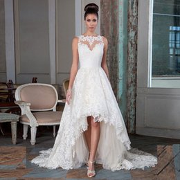 Wholesale Simple Boat Neck Organza Gown - Newest Design Boat Neck Sleeveless Sexy Illusion Back Appliques High Low Wedding Dresses with Long Train 2016 Bridal Gowns