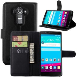 Wholesale Lg G2 Leather Flip Case - For LG G4 G3 G2 Mini G4mini 4C G3Mini G2Mini Beat Litchi Skin Flip Wallet Leather Stand Holder Case Cover Card Hard Plastic Cases 5Pcs 10Pcs