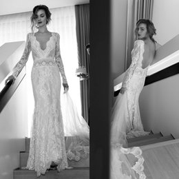 Wholesale Sleeved V Neck Lace Dress - 2015 Sexy Long Sleeved Lace Wedding Dresses Lihi Hod Sheath Bridal Gowns with Deep V Neck Backless Fitted Brides Dress Custom Made Vintage