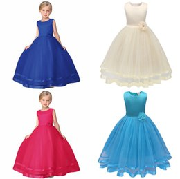 Wholesale Childrens Special Occasion Clothing - 2017 Girls Childrens Prom Dresses Belts Sash Ball Gown Princess Dress for Girls Clothing Kids Formal Wear Special Occasion Dresses Clothes