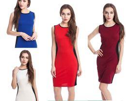 Wholesale Lady Hit Dress - 2015 New Women Ladies Elegant Hit Color Patchwork In The Side Sleeveless Slim Bodycon Dress Vestidos