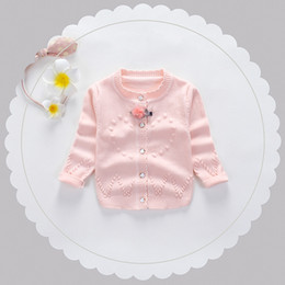 Wholesale Heart Computer - Infants cardigans Baby girls knitting pure color love heart sweater Toddler kids lace round collar pompon sweater Kids fashion clothes C2409