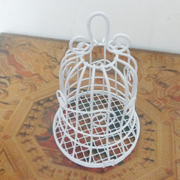 Wholesale White Wedding Favor Bells - Fashion Wedding Favors White Bell Birdcage Style Metal Gift Candy Party Favor Box Candy Favor Holders Free Shipping