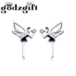 Wholesale Fairy Earrings Studs - Women Stud Earrings White Butterfly Fairy Dancer CZ Design Crystal Studs Earrings Gift Wholesale Jewelry Godzgift JE3062