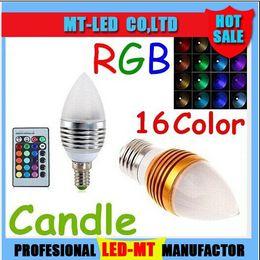 Wholesale Led Candle Bulb Remote - Christmas light Silver Golden 5W E27 E12 E14 Led Candle Lamp RGB 16 Colors Changeable Led Candle Light Bulb Lamp AC 85-265V + Remote Control