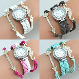 Wholesale Alloy Moustache - Hot Infinity Watches Fashion Infinity Bracelet Watches Lady Charms Bracelet Watches Moustache Sword Charms Wrist Watches Mix Color