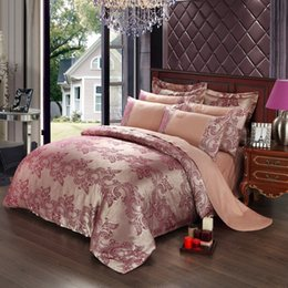 Wholesale Satin King Bedding - Wholesale-New Hot free shipping luxury bedding set satin jacquard bed set knitted embroidered quilt duvet cover king size bed sheet HA042A