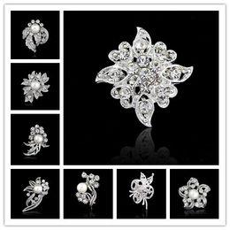 Wholesale American Grade - Top grade Wedding Brooches Beautiful inlay Rhinestone Crystal Pearl brooch Girls' Corsage Decorative brooch Wedding Bridal Bouquet Brooches