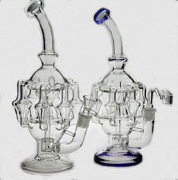 "Wholesale mm oil - High quality 11""inches glass bubbler water pipe 8 arm perc 1gear Percolator glass bong oil rig14.4 mm joint have bowl"