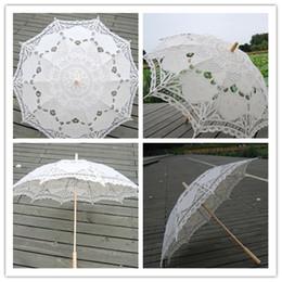 Wholesale Lace Parasol Umbrella Wholesale - Wedding Umbrella Fashion Womens Lace and Embroidered Umbrella Hot Wedding Cut Out and Beige Sun Umbrella