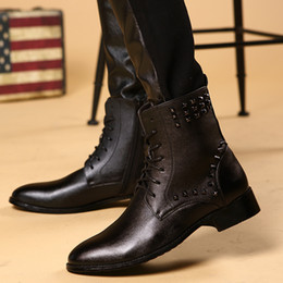 Wholesale Sexy Tall Man - Genuine black  brown dress mens ankle cowgirl us wedding cowboy leopard leather tall ballet pointe shoes winter sexy hoodies steel toe