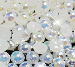 Wholesale Bags Loose Beads - free shippment 1000pcs bag 5mm AB Color Glue on Loose Pearl Beads Imitation Flatback Half Round Pearl For DIY phone caseNail Art