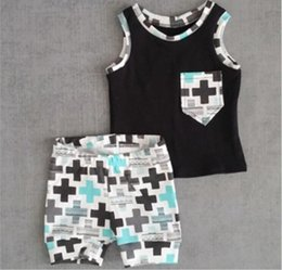 Wholesale Toddler Vests Sets - Baby Toddler Boys Clothes Pocket Tops Vest and Pants 2pcs Outfits Clothes Set hight quality free shipping