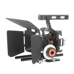 Wholesale 15mm Rod Rig Handles - Freeshipping DSLR Video Film Stabilizer Kit 15mm Rod Rig Camera Cage+Handle Grip+Follow Focus+Matte Box For Sony A7 II A6300  GH4