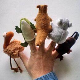 Wholesale Koala Finger Puppets - Plush Cartoon Plush Finger Puppets Australian Animals kangaroo Koala 5kinds For Christmas Gifts Wholesale 10set Lot