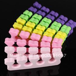 Wholesale Nail Separators - 500pcs   Lot Random Color Heart Soft Form Finger Toe Separator Acrylic Nail Art Salon Manicure Pedicure Tool