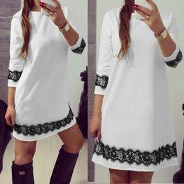 Wholesale Lace Trim White Short Dress - 2016 fashion new arrival women's clothing ladies dress O-Neck 3 4 Sleeve Lace Trimming A-Line Short Dress White