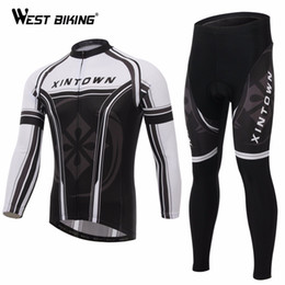 Wholesale Cycling Jersey White Pants Long - Wholesale-Black White Cycling Sportswear Ropa Ciclismo Bicicleta Road Bicycle Clothing Cycling Jersey Long Sleeve Bib Pants Set MTB Jersey