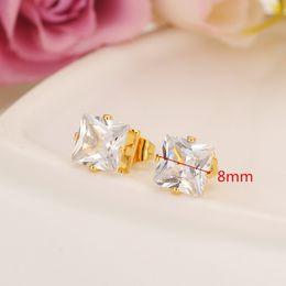 aretes 24k Rebajas Diseño de moda de lujo romántico 24k sólido oro amarillo fina lleno de zirconia cúbica Square Stud pendiente de la boda para las mujeres y la niña