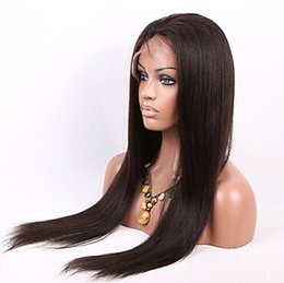 """Wholesale Glueless Full Lace Wigs Dhl - 10""""-26"""" Full Lace Wigs Brazilian Remy Hair #1B straight Human Hair Glueless 130% Density Lace Wigs Hand Tied Wigs DHL Free Shipping"""