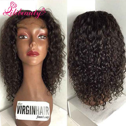Wholesale Glueless Kinky Straight Hair - 7A Kinky Curly Full Lace Human Hair Wigs For Black Women Brazilian Virgin Hair Full Lace Wig Glueless Lace Front Wig Kinky Curly