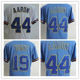 Wholesale Robin Baseball - Men's Milwaukee 1975 Throwback #44 Hank Aaron Retro Jersey #19 Robin Yount White Blue Pullover Baseball Jersey Can Mix Oreder S-3XL
