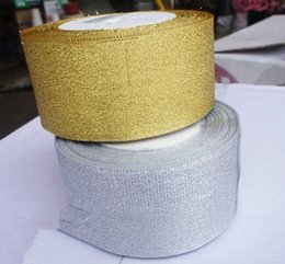 """Discount metallic tapes - 2""""(5cm) x 25yards Metallic Glitter band gold and silver ribbon cartoon bouquet ribbon DIY gift wrapping tape"""