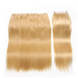 Armadura del pelo rubio ruso online-Russian Human Virgin Hair 613 Blonde Lace Closure With Bundles Seda Straight El cabello humano teje Platinum Blonde Human Hair Con Lace