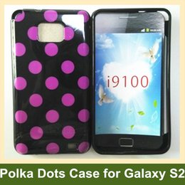 Wholesale S2 Cover Yellow - Wholesale Beauty Polka Dots Soft TPU Gel Cover Case for Samsung Galaxy S2 i9100 Free Shipping