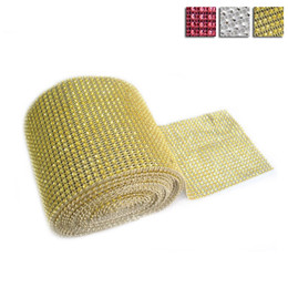 Wholesale Diamond Mesh Wrap Roll - Promotion Sale!!! Mesh Trims Bling Diamond Wrap Cake Roll Tulle Crystal Ribbons Party Wedding Decoration Event Party Supplies JM0054