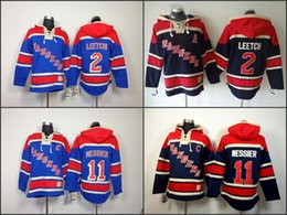 Wholesale Cheap New Hoodies - Cheap Mens New York Ranger Hoodies 2 Brian Leetch 11 Mark Messier Sweatshirts Stitched Authentic Old Time Hockey Hoodies