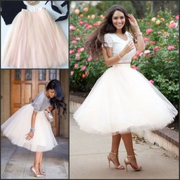 Wholesale Tulle Crinoline Skirt - Full Tutu Tulle Skirts 2017 Short Prom Party Dresses Ball Gowns 5 Layers Underskirt Crinolines Cheap with 18 Colors CPA583