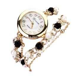 Wholesale Wristwatches Chain - High Quality New Women Geneva Flower Chain Bracelet Wristwatch Analog Quartz Dial Watch