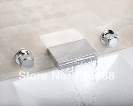 Wholesale Waterfall Bathtub Faucet Two Handle - Free Shipping Two Handles Wall Mounted Square Waterfall Spout Bathroom Bathtub Chrome Mixer 3 Pieces Set Faucet DS-52B
