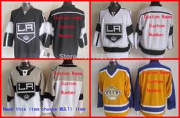 Wholesale Custom Embroidery Los Angeles - TOP Quality Men's Hockey Jerseys Custom Los Angeles Kings White Black Yellow,Embroidery Logo,M~XXXL,Wholesale